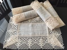 Set of 4 Napkins Linen Table Cloth Napkins lace by MsHomeS on Etsy