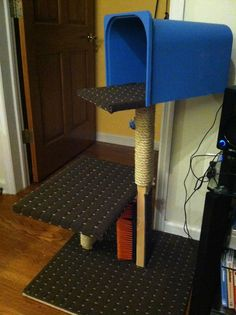 """DIY Cat Tower complete with full-service """"Cat Wash"""" station."""