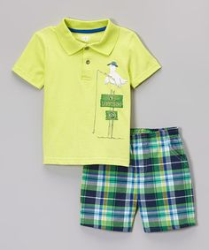 Take a look at this Yellow Seagull Polo & Navy Plaid Shorts - Infant, Toddler & Boys on zulily today!