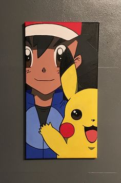 pikachu and Ash canvas