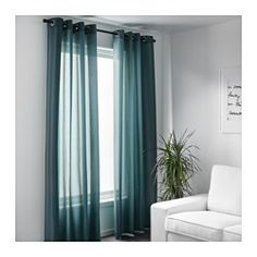 SANELA Curtains, 1 pair IKEA The thick curtains darken the room and provide privacy by preventing people outside from seeing into the room. Ikea Curtains, Thick Curtains, Green Curtains, Turquoise Curtains Bedroom, Curtains Living, Bedroom Curtains, Living Room Windows, Living Room Decor, Velvet Drapes