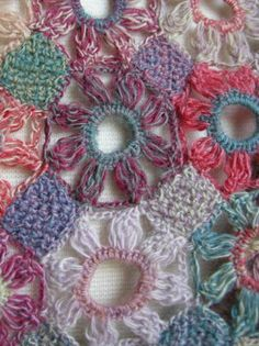 Beautiful, close up of intricate crochet work on the Fleur Simple Wool Scarf by Sophie Digard.