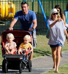 Naomi Watts and Liev Schreiber with kids Sasha and Sammy