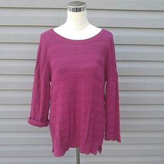 Magenta Sweater Magenta Sweater. Has a button on the sleeve so you can roll it up to become a 3/4 sleeve sweater. Sweaters Crew & Scoop Necks