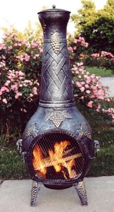Grape Chimenea Outdoor Fireplace With Grill