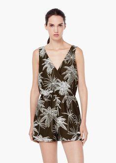 Printed short jumpsuit - Dresses for Women | MANGO USA