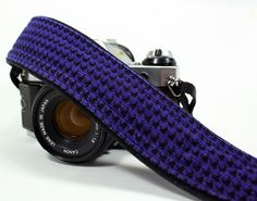 dSLR Camera Strap, Purple Hounds tooth, Purple, Black.