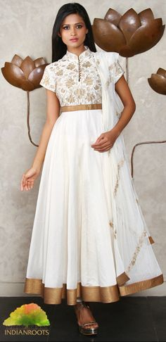 Ivory chanderi Anarkali with Rice Taanka Work by Rohit Bal at Indianroots.com