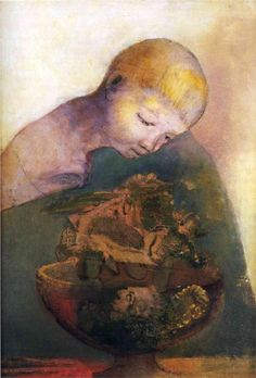 Odilon Redon (French: 1840–1916), [Post-impressionism, Symbolism] Cup of cognition (The Children's Cup), 1894.