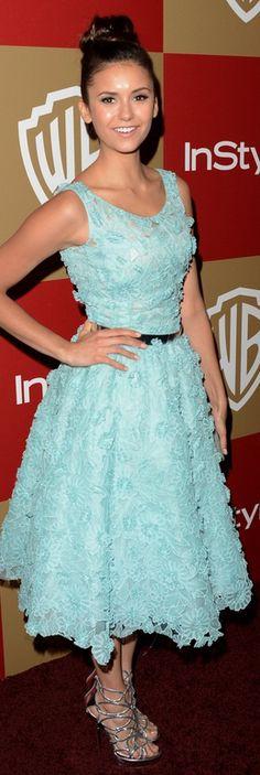 Nina Dobrev: Dress – Oscar de la Renta    Shoes – Jimmy Choo