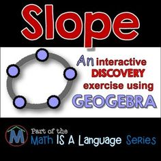 Students independently and effectively discover the concepts behind Slope. You be the facilitator!Most students just accept equations and theorems as a given in math. But, in many cases, the theorems and equations are just an extension of what they already know or have previously studied.