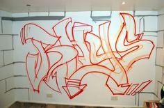 graffiti bedroom sketch on wall