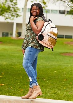 She shines on the first day of school and all year long. Camo Denim Jacket, Justice Bags, Justice Leggings, Justice Clothing, Tween Girls, Boho Tops, School Stuff, Cute Dresses, Cloths