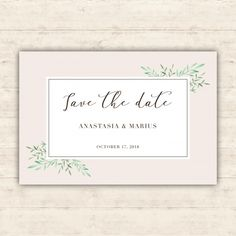 Minimalist wedding card with watercolor leaves Free Vector