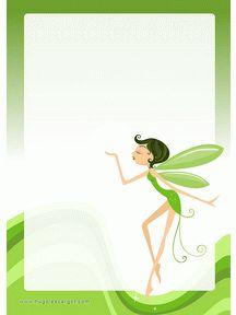 A imprimer, un beau papier à lettre vert avec la belle fée verte