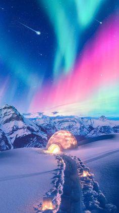 41 Ideas For Nature Wallpaper Northern Lights Night Sky Wallpaper, Lit Wallpaper, Scenery Wallpaper, Galaxy Wallpaper, Wallpaper Backgrounds, Iphone Wallpapers, Snow Wallpaper Iphone, Winter Wallpaper, Mobile Wallpaper