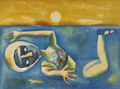 The Swimmer, by Charles Blackman, Enamel on paper on composition board. Australian Painters, Australian Artists, Alice In Wonderland Series, Arthur Boyd, Henry Thomas, New Zealand, Folk, Drawings, Aussies