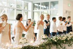 Wedding reception, head table, toast Bridesmaid Dresses, Wedding Dresses, Wedding Reception, Toast, Entertainment, Weddings, Table, Fashion, Bride Maid Dresses