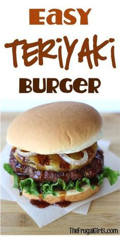 teriyaki burger recipe with grilled pineapple! These Asian flavors . - Frugal Girls Recipes -Simple teriyaki burger recipe with grilled pineapple! These Asian flavors . Grilled Burger Recipes, Chicken Sandwich Recipes, Gourmet Burgers, Grilling Recipes, Beef Recipes, Cooking Recipes, Healthy Recipes, Easy Burger Recipes, Sandwich Recipes