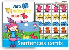 Sentences cards pack; sentence structure, language, special education, speech therapy. Re-pinned by Virtual Speech Center.  Visit our website to find out about our apps for speech therapy and special education: www.virtualspeechceter.com
