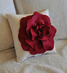 Rose Applique Ruby Red Rose on Cream Pillow 14x14 by bedbuggs