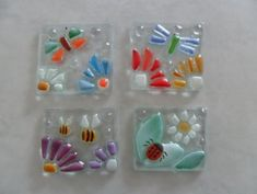 fused glass tiles FLOWERS FLORAL
