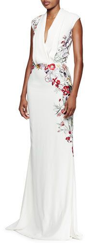 Alexander McQueen Floral-Embroidered Pleated V-Neck Gown, White/Multi