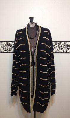 Black and Gold Shimmer Oversize Cardigan Vintage by RetrosaurusRex