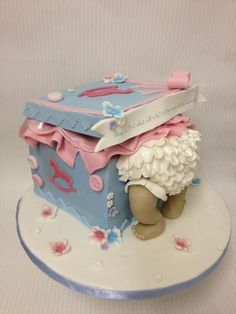 Message reads: Pink or blue what will it be? we'll have to open the box and we will see -- CAKEbylaura
