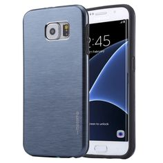 [USD2.30] [EUR2.10] [GBP1.63] Motomo Brushed Texture Metal + TPU Protective Case for Samsung Galaxy S7 Edge / G935(Dark Blue)