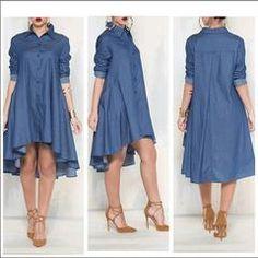 7efb906e4f0 Casual Denim Blue Pockets Shirt Irregular Loose Dress - M   Denim blue  Jeans Dress