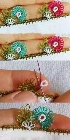 Sevda Blossoms Needle Lace Headscarf Towel Edge Model Making - Dekoration Ideen Needle Tatting, Tatting Lace, Needle Lace, Head Wrap Headband, Diy Headband, Tatting Patterns, Crochet Patterns, Embroidery Thread, Embroidery Designs