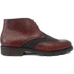 8430 Zapato botín con pala vega combinado en tela verde con piel grabada color cuero de Ashcroft | Calzados Garrido