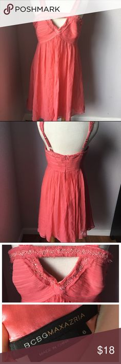 BCBG Pink Beads Sequence Cocktail Party Dress 6 Has some pilling and a few beads missings. Also has stain (see pic)- the stain is not noticeable at all.  