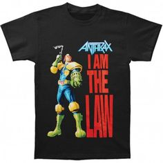 Official Anthrax Black T-Shirt featuring the Judge Dredd I Am The Law design printed on the front 100 Cotton No Back Print Oficially Licensed Judge Dredd, Band Merch, Large Black, Law, Mens Tops, T Shirt, Stuff To Buy, Metalhead, Printed