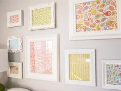 DIY...framed wallpaper/scrapbook paper. Good idea for a nursery.