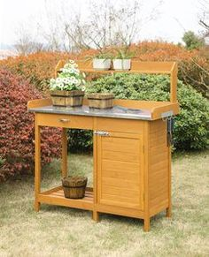Convenience Concepts Deluxe Potting Bench with Cabinet in Light Oak