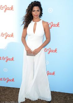 Elegant: Camila Alves wore a blindingly white jumpsuit to Target's Cat & Jack brand launch in New York City