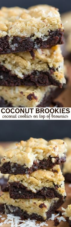 Well I think I have to make these just cause they're called brookies! Coconut Brookies are part brownie, part coconut sugar cookies. Two easy recipes combine into one decadent bar cookie.