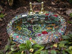 glass mosaic birdbath made from bathroom sink. Great idea!