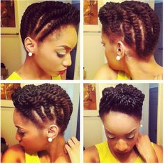 I love this flat twist updo! Medium sized flat twists around the sides and individual strand twists at the crown. Be Natural, Natural Hair Tips, Natural Hair Styles, Natural Updo, Natural Beauty, Going Natural, Natural Women, Natural Living, Twist Styles