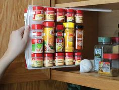 Check out http://spicestor.com!  Organize your spice collection quickly and efficiently. SpiceStor holds up to 40 spice jars and allows you to store them as a single unit. SpiceStor spice rack is very versatile and can be used in cabinets, pantries, drawers and on cabinet doors.