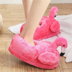 8ed93b0a18d82 LIN KING Sweet Cartoon Flamingo Indoor Slippers Women Men Warm Winter Home  Shoes Non-slip Lovers House Floor Cotton Padded Shoes