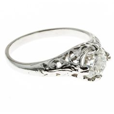 Pre-owned Victorian Old European Cut Diamond Hand Pierced Platinum... ($9,020) ❤ liked on Polyvore featuring jewelry, rings, engagement rings, womens jewellery, white flower crown, edwardian engagement rings, diamond engagement rings e white gold rings