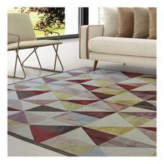Alfombra de viscosa de diseño moderno con triángulos desvaídos en varios colores. Fina y sin pelo, cálida y acogedora.