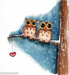 Original Watercolor Painting Folk Art Whimsical Winter Owl Heart Bird Snow 6x5"
