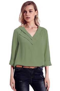 Sage Green Lapel V Neck Roll Sleeve Blouse – Simple Craze Blouse Styles, Blouse Designs, Sewing Blouses, Blouse Models, Green Blouse, Collar Blouse, How To Roll Sleeves, Chiffon Fabric, Ladies Dress Design