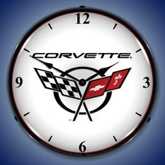 C5 Corvette Emblem Backlit Clock
