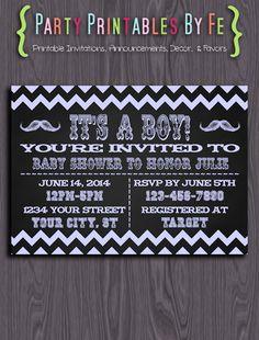 Printable Baby Shower Invitation ~ It's A Boy! Chalkboard Baby Shower ~ I122