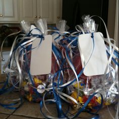Football player goody bags from cheerleaders on game day.